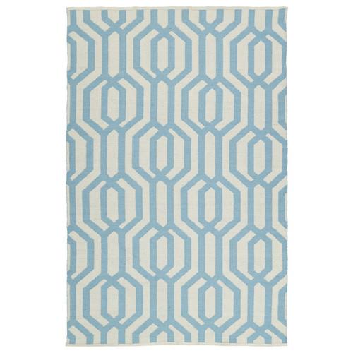 Indoor/Outdoor Laguna Ivory and Spa Blue Geo Flat-Weave Rug (3' x 5')
