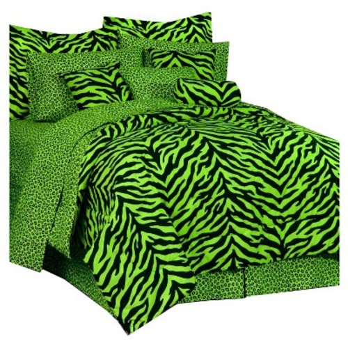 Lime and Black Twin Zebra Print Bed in A Bag