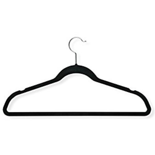 Honey-Can-Do HNG-01050 Ultra-Thin Non-Slip Velvet-Touch Hangers, Black, 20-Pack [Black, Velvet Suit Hangers: 20-Pack]