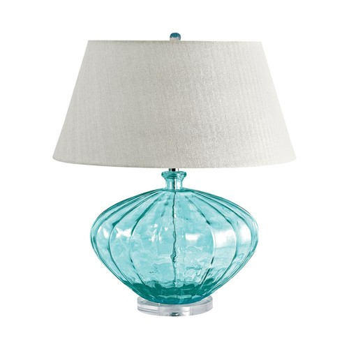 Titan Lighting 25 in. Blue Recycled Fluted Glass Urn Table Lamp