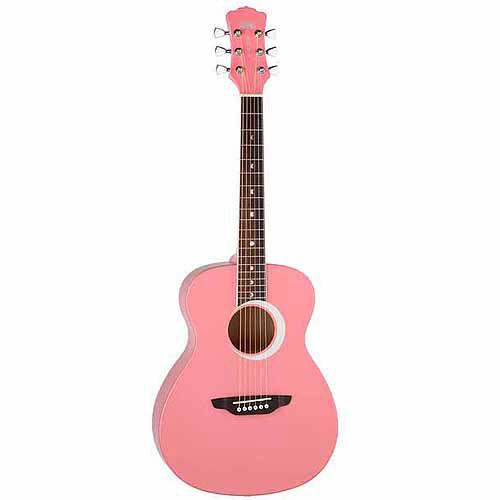 Luna Aurora Borealis 3/4 Guitar - Pink