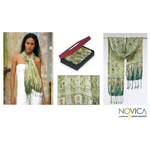 Silk Royal Java Green Batik Scarf (Indonesia)