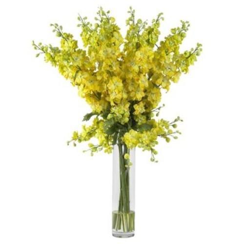 38 in. H Yellow Delphinium Silk Flower Arrangement