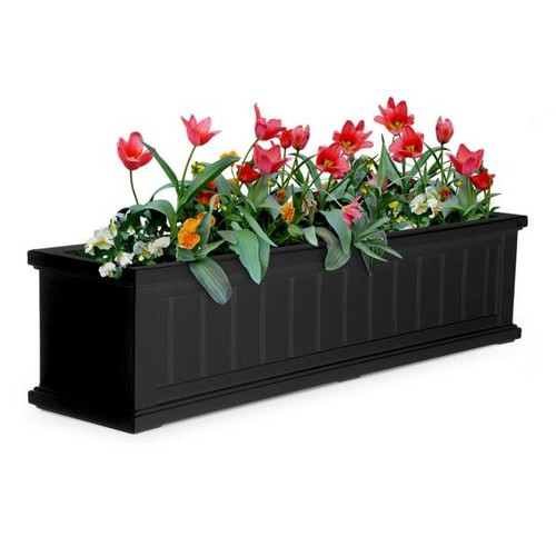 Mayne 11 in. x 48 in. Black Cape Cod Window Box