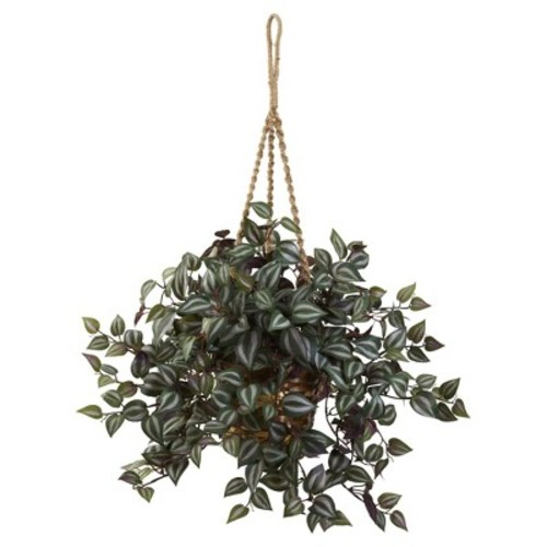 Wandering Jew Hanging Basket Green - Nearly Natural