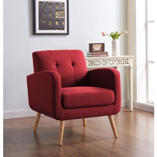 Handy Living Mid-Century Modern Chair - Red Linen