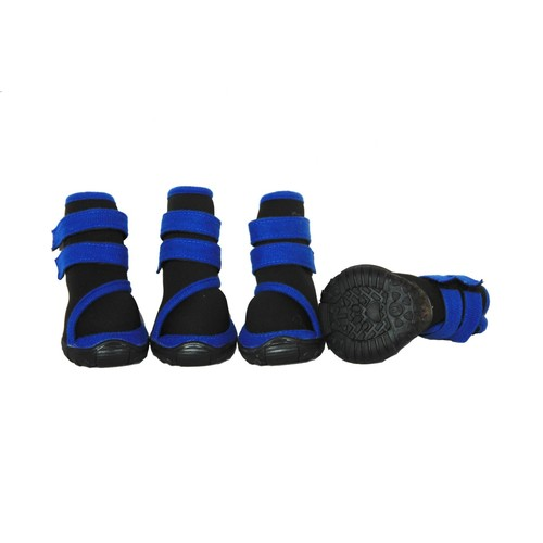 Performance-Coned Premium Stretch Supportive Pet Shoes - Set Of 4 [Black/Blue, X-SMALL]