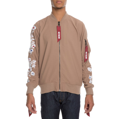 The Cria Floral Bomber Jacket in Khaki Creme