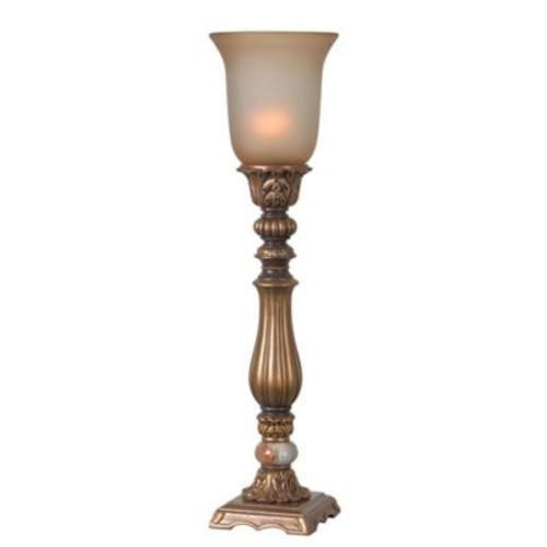 Kenroy Home Torchiere Table Lamp in Gold with Glass Shade