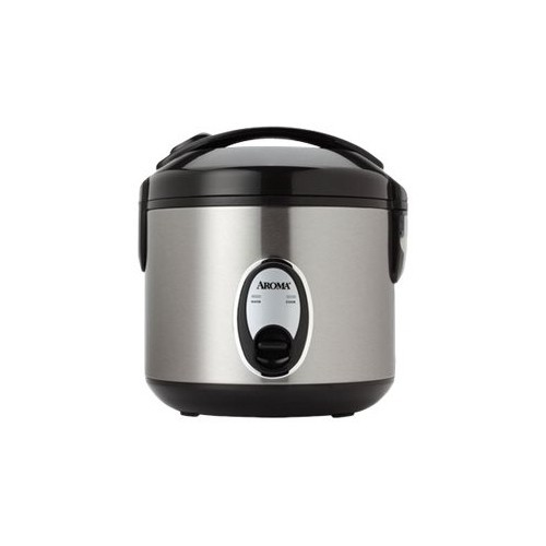 AROMA - 8-Cup Rice Cooker/Steamer - Black/silver
