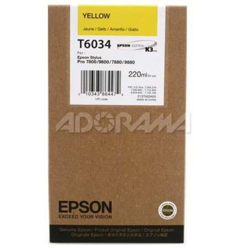 Epson T603400 UltraChrome 220ml Printer Ink, Stylus Pro 7880, Yellow T603400