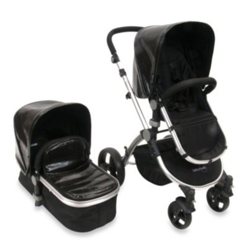 babyroues letour lux II classique Bassinet and Stroller Silver Frame System in Croco Black