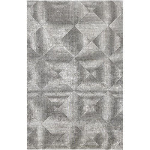 Luminous Collection Wool Area Rug in White, Flint Grey, and Pewter design by Candice Olson - 2' x 3'