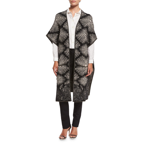 ETRO Long Diamond Ikat Open-Front Sweater, Black/White