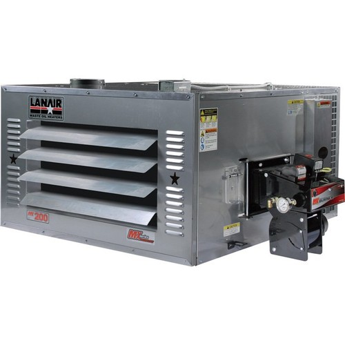 Lanair Waste Oil-Fired Thermostat-Controlled Heater Package  200,000 BTU, 5,000 Sq. Ft. Capacity, Through-Wall Chimney,
