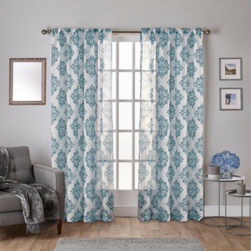 Curtain Panels Exclusive Home Teal Geometric