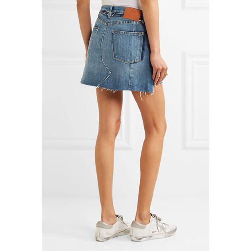 Nouveau Le Mini Mix distressed denim skirt