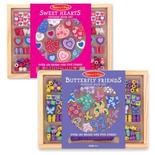 Melissa & Doug Sweet Hearts & Butterfly Friends Wooden Bead Sets