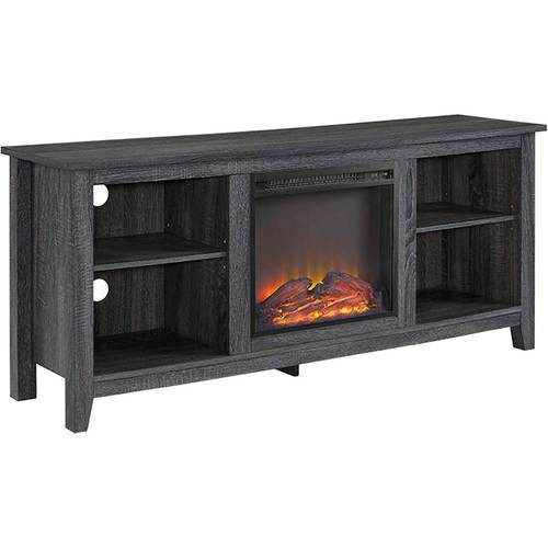 Walker Edison - Media Stand with Built-In Electric Fireplace for Most Flat-Panel TVs Up to 60