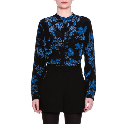 STELLA MCCARTNEY Long-Sleeve Floral-Silk Blouse, Black/Blue