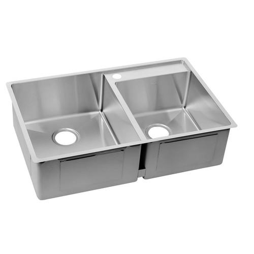 Elkay Crosstown Undermount Stainless Steel 33 in. 2-Hole Double Bowl Lowered Deck Kitchen Sink Kit