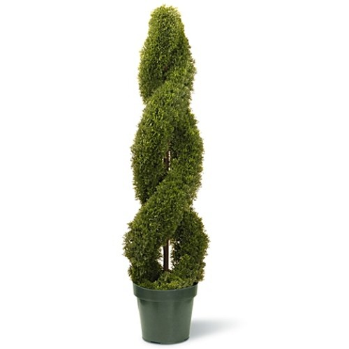 National Tree 48-Inch Double Cedar Spiral Plant with Green Pot