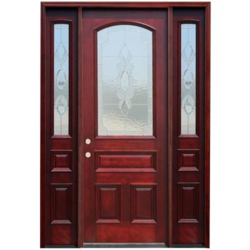 Pacific Entries 66in.x96in. Traditional 3/4 Arch Lt Stained Mahogany Wood Prehung Front Door w/12 in. Sidelites and 8 ft. Height Series