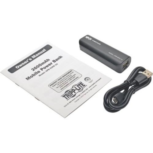 Tripp Lite Portable 1-port Usb Battery Charger Mobile Power Bank 2.6k Mah - For Smartphone, Tablet Pc, E-book Reader, Mp3 Player, Bluetooth Speaker, Headset, Headphone - Lithium Ion (upb-02k6-1u)