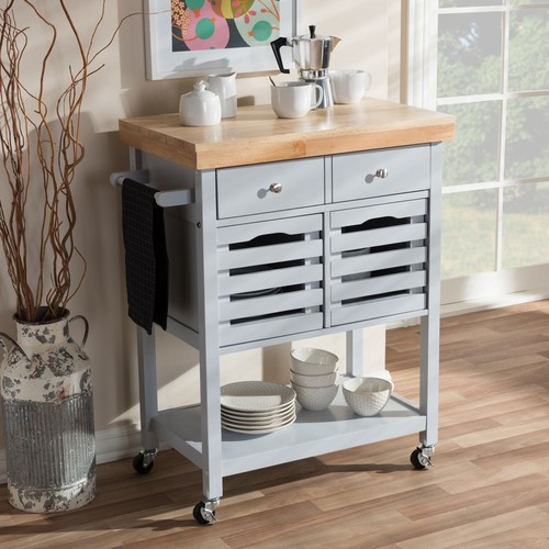 Baxton Studio Jaden Modern and Contemporary Light Gray Finished Wheeled Kitchen Cart with Butcher Top