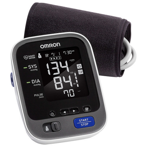 Omron - 10 SERIES CONNECTED Advanced Accuracy Upper Arm Blood Pressure Monitor - Gray/White/Black