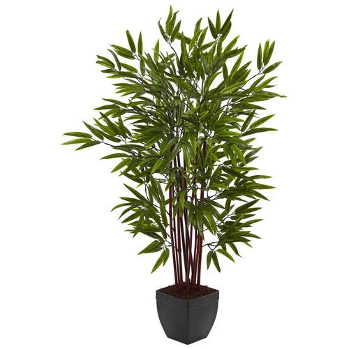 Nearly Natural Bamboo Silk Tree with Planter in Green