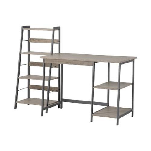 Gemelli Writing Desk and 4-Shelf Bookcase Set - Reclaimed Wood - Homestar