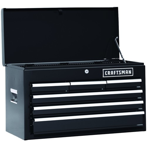 Craftsman 26 In. 6-Drawer Heavy-Duty Ball Bearing Top Chest -Black