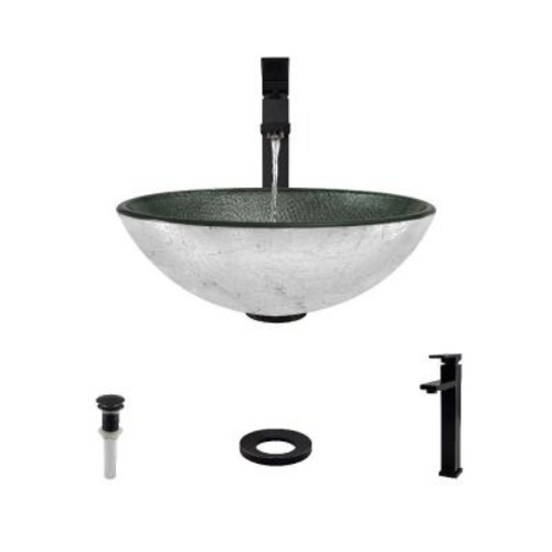 MR Direct Glass Vessel Sink in Silver Mesh with 721 Faucet and Pop-Up Drain in Antique Bronze