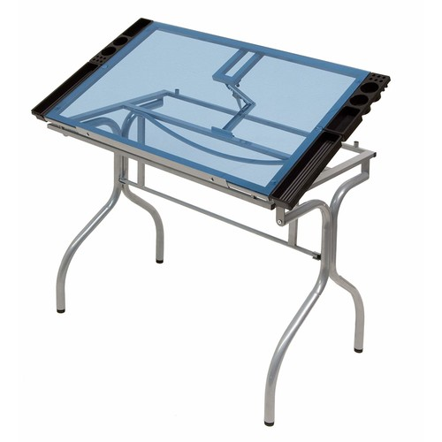 Studio Designs 13220 Folding Craft Station, Silver/Blue Glass [Silver / Blue Glass]