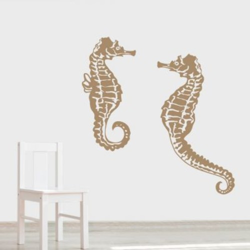 Wallums Wall Decor Seahorse Wall Decal; Black