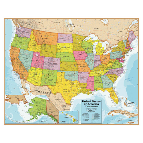 Round World United States Wall Chart with Interactive App