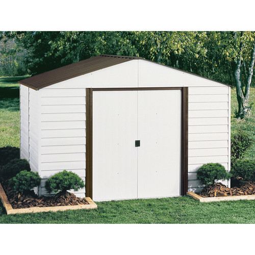 Arrow Parkview Steel Shed  12ft.L x 10ft.W, 729 Cu. Ft., Eggshell/Coffee,