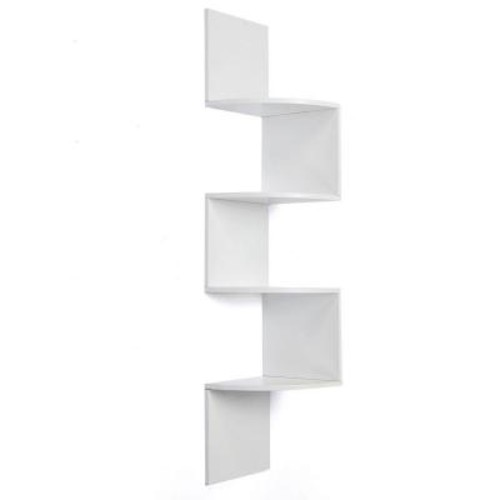 AZ Home and Gifts nexxt Provo 4-Tier 12 in. x 57 in. MDF Corner Shelf in White