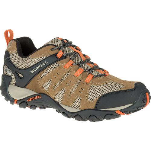 MERRELL Mens Accentor Low Waterproof Hiking Shoes, Otter/Burnt Orange