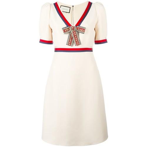 GUCCI Web Trim Bow Embellished Dress
