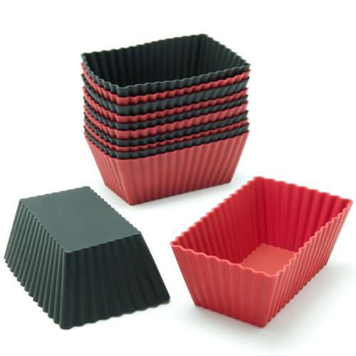 Freshware 12-Pack Rectangular Silicone Reusable Baking Cup