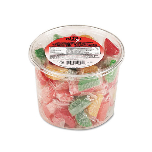 Office Snax Assorted Fruit Slices individually-wrapped Candy 2-pound Plastic Tub (Pack of 2)