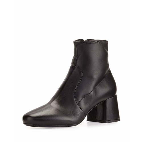 PRADA Stretch-Leather Block-Heel Bootie, Black