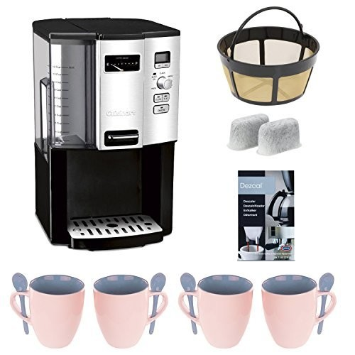 Cuisinart DCC3000 12-cup Programmable Coffeemaker + Gold Tone Basket Coffee Filter + 4 pcs 16 oz. Stoneware Coffee Mug + Home Activated Coffee/ Espresso Descaler + Replacement Water Filters 2 Pack