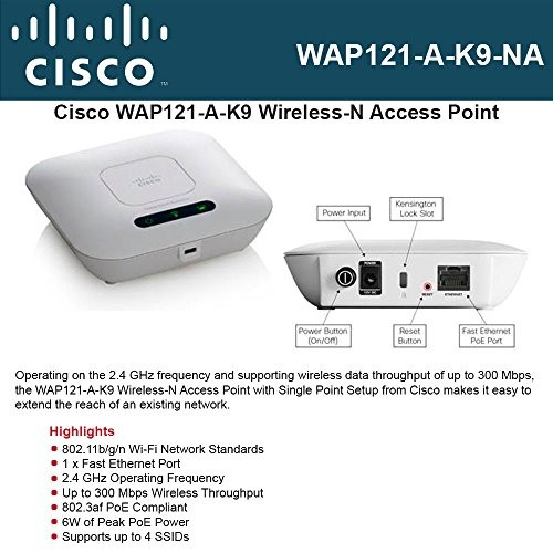 Cisco WAP121 IEEE 802.11n 300 Mbps Wireless Access Point (WAP121-A-K9-NA) -