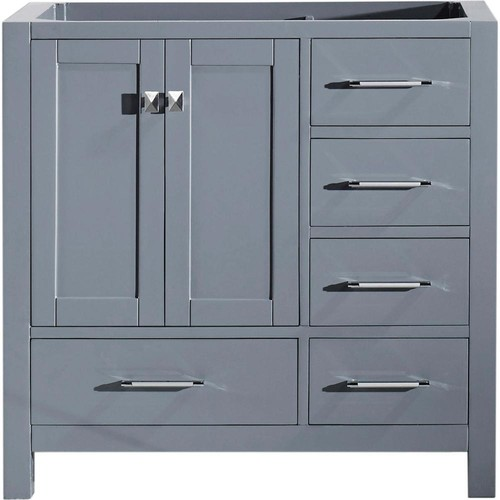 Virtu USA Caroline Avenue 36 in. W x 22 in. D Vanity Cabinet Only in Grey