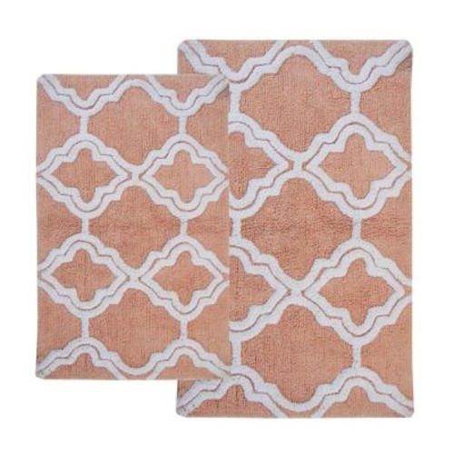 Chesapeake Merchandising Double Quatrefoil Salmon/Ivory 2 ft. x 3 ft. 4 in. 2-Piece Bath Rug Set