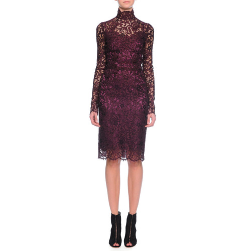 DOLCE & GABBANA Long-Sleeve Floral-Lace Scalloped Sheath Dress, Aubergine