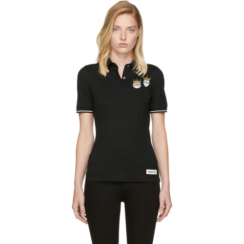 DOLCE & GABBANA Black Crowned Designers Polo